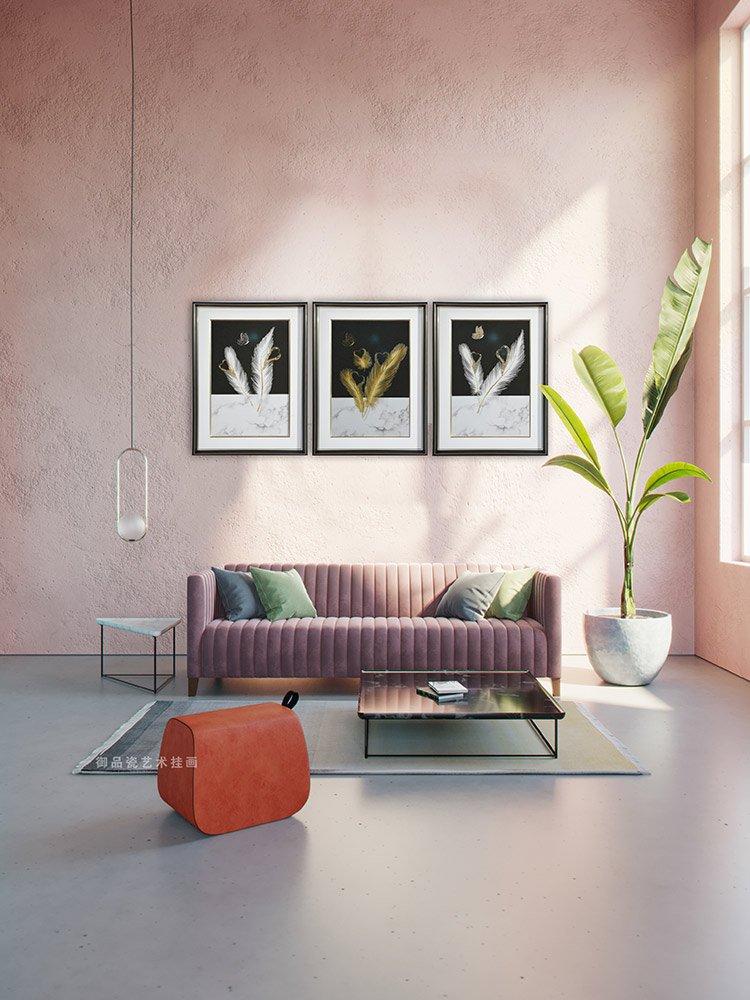 硬核:岩板背景墙搭配客厅背景装饰画