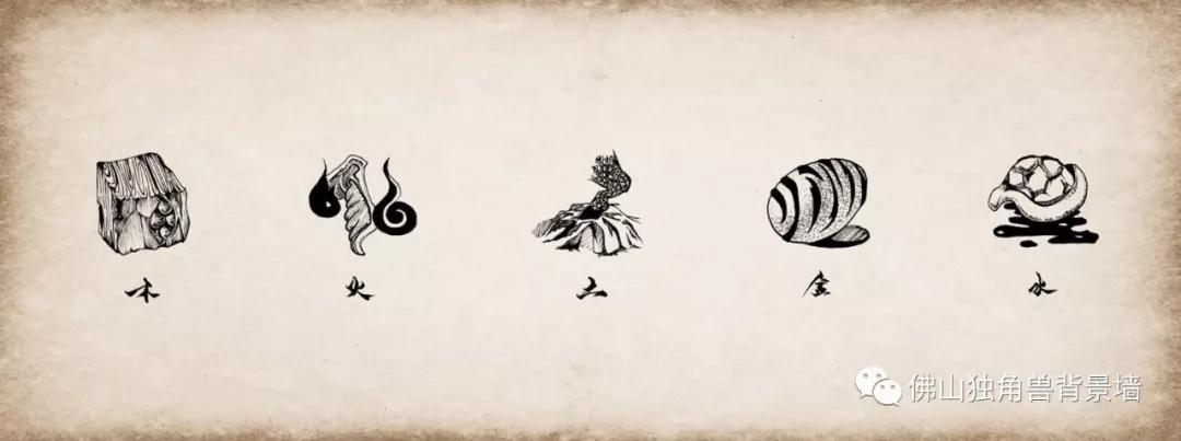 独角兽—五行之道背景墙设计元素